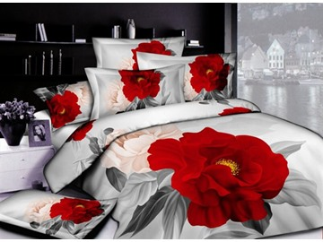 3D Red Peony Printed Luxury Cotton 4-Piece Bedding Sets/Duvet Cover