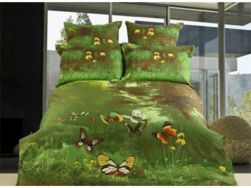 3D Flying Butterfly and Forest Printed Cotton 4-Piece Green Bedding Sets