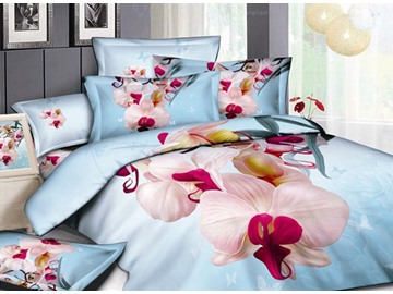 Fresh large flowers 4 Piece Cotton Bedding Sets of Princess