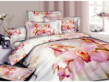 3D Pink Orchid Printed Cotton 4-Piece Bedding Sets/Duvet Covers