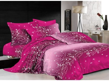 3D Dazzling Branches and Tendrils Printed Cotton 4-Piece Bedding Sets