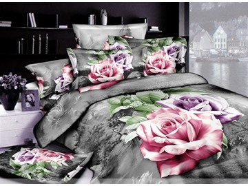 Ornate Sliver Gray 4 Piece Cotton Bedding Sets with Active Printing