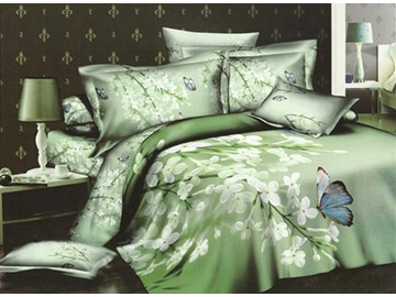 3D White Blooms and Butterfly Green Cotton 4-Piece Bedding Sets/Duvet Covers