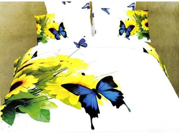 Magnificent 4 Piece Sunflowers and Butterflies Print Duvet Cover Sets of 100% Cotton
