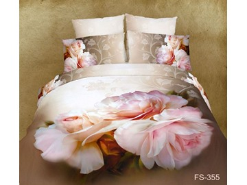 3D Pink Peony Printed Cotton 4-Piece Bedding Sets/Duvet Covers