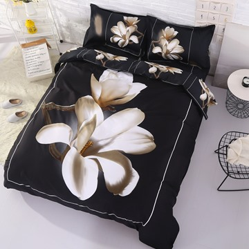 3D White Magnolia Printed Cotton 4-Piece Bedding Sets