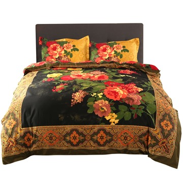 3D Peony Oil Painting Retro Style 4-Piece Bedding Sets/Duvet Covers