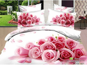 3D Bunch of Pink Roses Printed Cotton 4-Piece White Bedding Sets