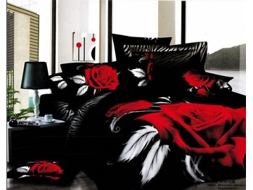 3D Red Rose Printed Cotton 4-Piece Black Bedding Sets/Duvet Cover Sets