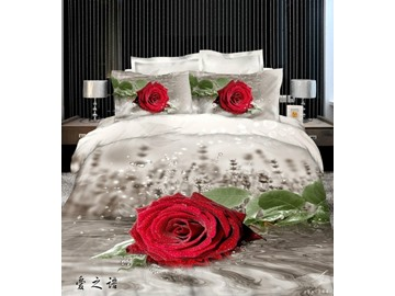 3D Red Rose with Dewdrops Printed Cotton 4-Piece Bedding Sets/Duvet Cover