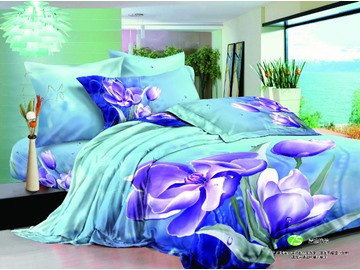 3D Purple Clematis Florida Cotton 4-Piece Bedding Sets/Duvet Covers