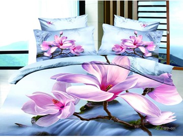 3D Pink Magnolia and Stream Printed Cotton 4-Piece Light Blue Bedding Sets