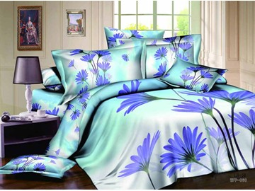 3D Purple Daisy Printed Cotton 4-Piece Bedding Sets/Duvet Covers