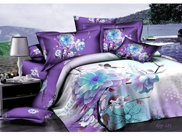 High Quality Twin Size Purple Magnolia Flower 3D Printed 4-Piece Cotton Bedding Sets/Duvet Covers
