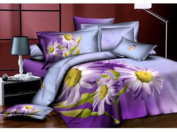 3D Purple Daisy Printed Elegant Cotton 4-Piece Bedding Sets/Duvet Cover