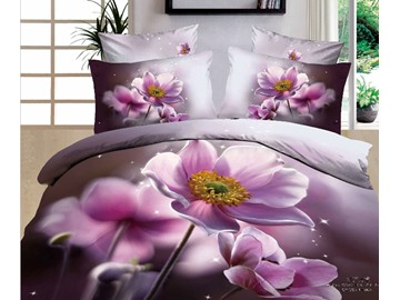 3D Pink Poppy Printed Cotton 4-Piece Bedding Sets/Duvet Covers