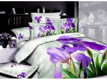 3D Purple Iris Tectorum Printed Cotton 4-Piece Bedding Sets/Duvet Covers