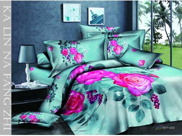 3D Hot Pink Rose Printed Cotton 4-Piece Light Green Bedding Sets/Duvet Covers