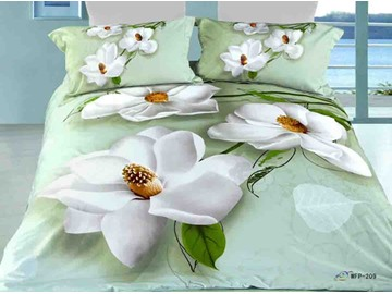 3D White Anise Magnolia Printed Cotton 4-Piece Bedding Sets/Duvet Covers