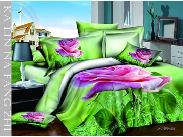 3D Blooming Purple Rose Printed Cotton 4-Piece Green Bedding Sets/Duvet Cover