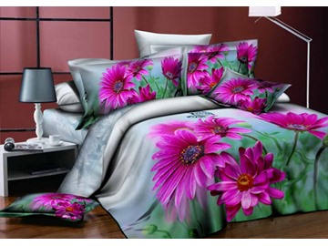 3D Purple Dahlia Green Leaves Printed Cotton 4-Piece Bedding Sets/Duvet Cover