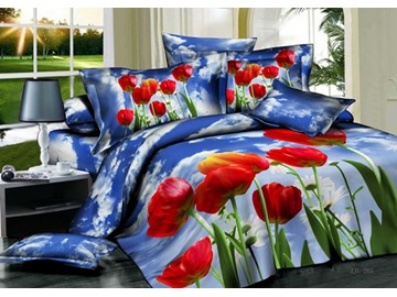 3D Red Tulips and Blue Sky Printed Cotton 4-Piece Bedding Sets/Duvet Covers