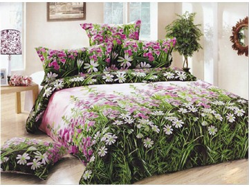 3D Flowers Printed Pastoral Style Cotton 4-Piece Bedding Sets/Duvet Covers