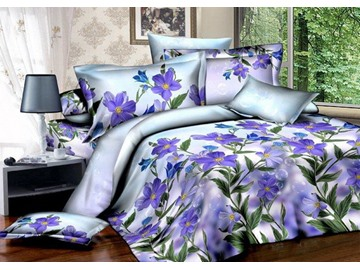 3D Purple Cranesbill and Bubbles Printed Cotton 4-Piece Bedding Sets/Duvet Covers