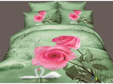 3D Pink Rose and Swan Printed Cotton 4-Piece Bedding Sets/Duvet Covers
