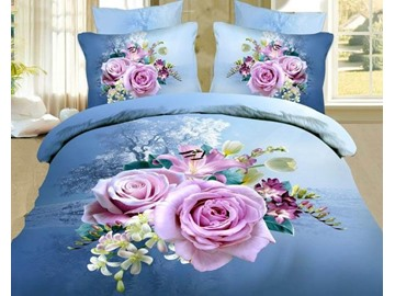 3D Light Purple Rose Printed Cotton 4-Piece Blue Bedding Sets/Duvet Covers