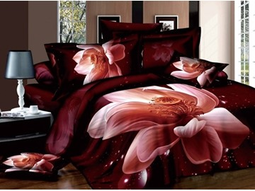3D Lifelike Pink Lotus Printed Cotton 4-Piece Bedding Sets Duvet Cover