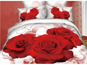 3D Red Rose Printed Luxury Style Cotton 4-Piece White Bedding Sets/Duvet Covers
