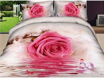 3D Pink Rose by the River Printed 4-Piece Bedding Sets/Duvet Covers
