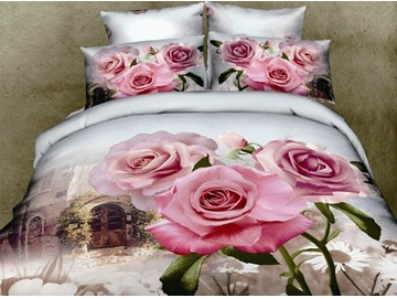3D Pink Rose and Old Building Printed Cotton 4-Piece Bedding Sets/Duvet Covers