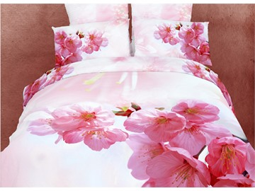 3D Pink Peach Blossom Printed Cotton 4-Piece Bedding Sets/Duvet Covers