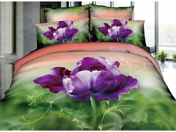 3D Purple Pansy Printed Cotton 4-Piece Gradient Bedding Sets/Duvet Cover