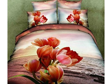 3D 100% Cotton Sunset Flower 4 Piece Bedding Sets/comforter Sets