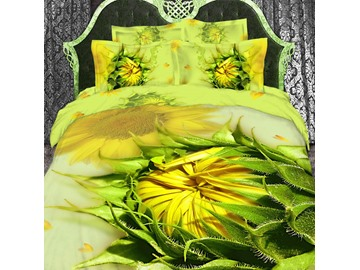 3D Sunflowers Printed Cotton 4-Piece Yellow Bedding Sets/Duvet Cover Sets