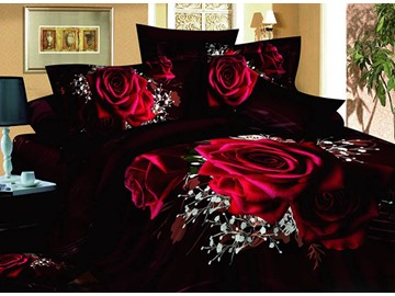 3D Red Roses with Baby Breath Printed Cotton 4-Piece Black Bedding Sets