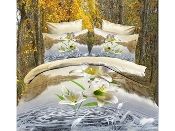 3D White Lily and River Scenery Printed Cotton 4-Piece Bedding Sets