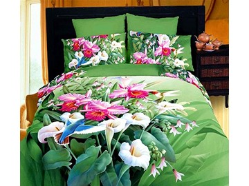 3D White and Purple Trumpet Lily Printed Cotton 4-Piece Green Bedding Sets/Duvet Covers
