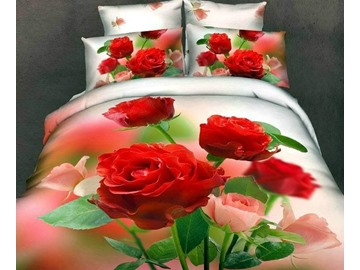 New Arrival High Quality 100% Cotton Gorgeous Flowers 4 Piece Bedding Sets/Duvet Cover Sets