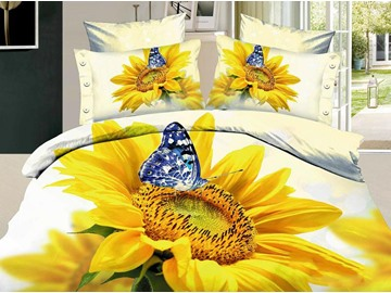 3D Sunflower and Butterfly Printed Cotton 4-Piece White Bedding Sets/Duvet Cover