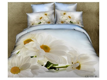 White Daisy Print 4-Piece Cotton 3D Duvet Cover Sets