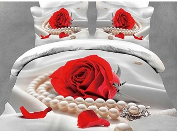 3D Red Rose and Pearls Printed Cotton 4-Piece White Bedding Sets/Duvet Covers
