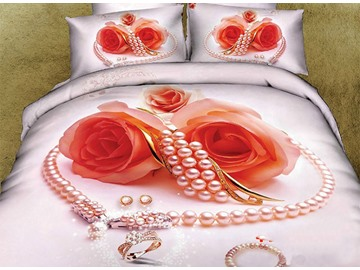 3D Heart-shaped Pearl Necklace and Rose Printed Cotton 4-Piece Bedding Sets/Duvet Covers