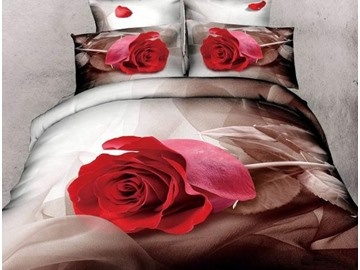 3D Red Rose Printed Retro Style Cotton 4-Piece Bedding Sets/Duvet Cover