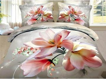 3D Pink Magnolia Printed Cotton 4-Piece Bedding Sets/Duvet Cover