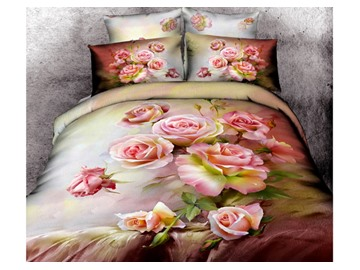 3D Cluster of Pink Roses Printed Cotton 4-Piece Bedding Sets/Duvet Covers