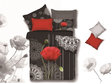 3D Red Poppy Printed Retro Style Cotton 4-Piece Bedding Sets/Duvet Covers